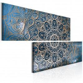 Dvoudílné obrazy - zlato modrá Mandala (180x90 cm) - Murando DeLuxe