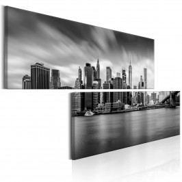 Dvoudílné obrazy - černobílý Manhattan (180x90 cm) - Murando DeLuxe