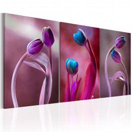 Třídílný obraz - Zamilované tulipány (120x60 cm) - Murando DeLuxe