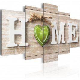 Pětidílné obrazy - zelené srdce (200x100 cm) - Murando DeLuxe