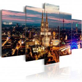 Pětidílné obrazy - noční město (200x100 cm) - Murando DeLuxe
