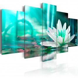 Pětidílné obrazy - leknín (200x100 cm) - Murando DeLuxe