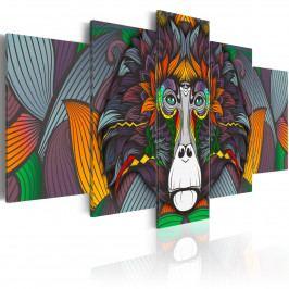 Pětidílné obrazy - barevná opice (200x100 cm) - Murando DeLuxe