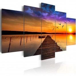 Pětidílné obrazy - romantické jezero (200x100 cm) - Murando DeLuxe