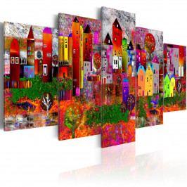 Obraz - barevné městečko (200x100 cm) - Murando DeLuxe