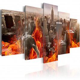 Pětidílné obrazy - milostné město (200x100 cm) - Bimago