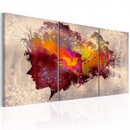 Třídílné obrazy - barevná hlava (120x60 cm) - Murando DeLuxe
