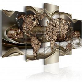 Pětidílné obrazy - zářící zlatá mapa (200x100 cm) - Murando DeLuxe