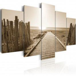 Pětidílné obrazy - pláž vzpomínek (200x100 cm) - Murando DeLuxe