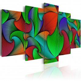 Pětidílné obrazy - vodopád barev (200x100 cm) - Murando DeLuxe