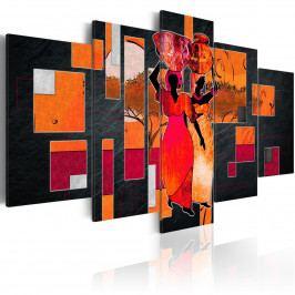 Pětidílné obrazy - ženy nesoucí vodu (200x100 cm) - Murando DeLuxe