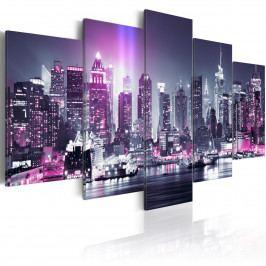 Pětidílné obrazy - fialové město (200x100 cm) - Murando DeLuxe