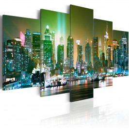 Pětidílné obrazy - zelená záře (200x100 cm) - Murando DeLuxe