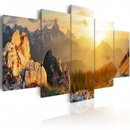 Pětidílné obrazy - hory (200x100 cm) - Murando DeLuxe