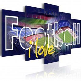 Pětidílné obrazy - fotbal lásky (200x100 cm) - Murando DeLuxe