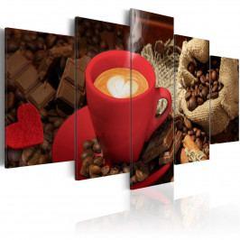 Pětidílné obrazy - srdcová káva (200x100 cm) - Murando DeLuxe