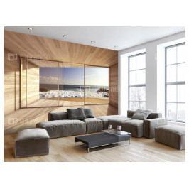 Fototapeta okna s výhledem na pláž II. (150x105 cm) - Murando DeLuxe