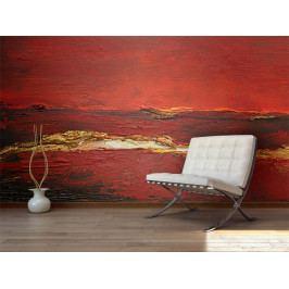Tapeta zlatočervená malba (150x116 cm) - Murando DeLuxe