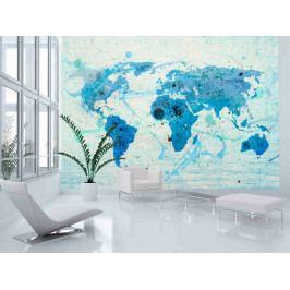 Modrá mapa světa (150x116 cm) - Murando DeLuxe