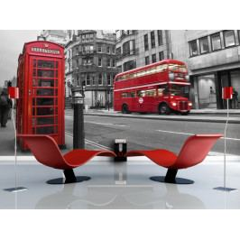 Fototapeta -  šedo červený Londýn (150x116 cm) - Murando DeLuxe