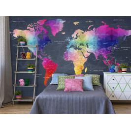 Tapeta mapa světa a oceánů (150x105 cm) - Murando DeLuxe