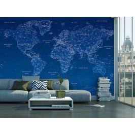 Tapeta Mapa světa modrá (150x105 cm) - Murando DeLuxe