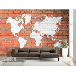 Cihlová zeď se světadíly (150x105 cm) - Murando DeLuxe