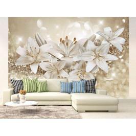 Tapeta stříbrná lilie II. (150x105 cm) - Murando DeLuxe