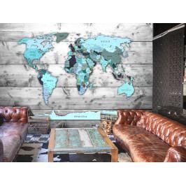 Tapeta - Tyrkysová mapa světa (150x105 cm) - Murando DeLuxe