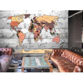 Tapeta - Mapa světa na prknech (150x105 cm) - Murando DeLuxe