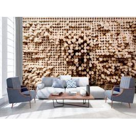 Tapeta dřevo - špalíčky (150x105 cm) - Murando DeLuxe