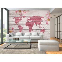 Tapeta růžová - mapa světa (150x105 cm) - Murando DeLuxe
