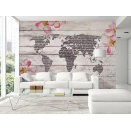Tapeta Romantická mapa světa (150x105 cm) - Murando DeLuxe