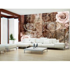 Staré dřevo a růže (150x105 cm) - Murando DeLuxe