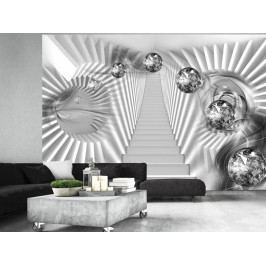 Tapeta stříbrné schody (150x105 cm) - Murando DeLuxe