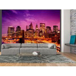 Manhattan a Brooklyn Bridge v noci (150x116 cm) - Murando DeLuxe