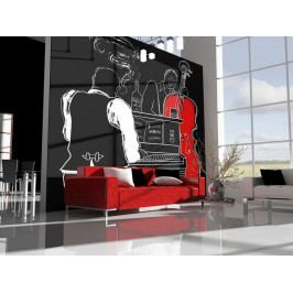 Tapeta jazz - pianino, kontrabas (150x116 cm) - Murando DeLuxe