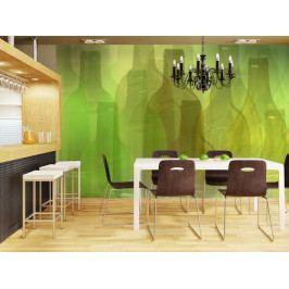 Tapeta zelená - láhve (150x116 cm) - Murando DeLuxe