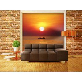 Fototapeta - západ slunce s rybářem (150x116 cm) - Murando DeLuxe