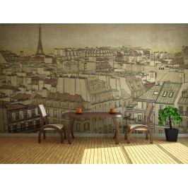 Pohled na Paříž-kresba (150x116 cm) - Murando DeLuxe