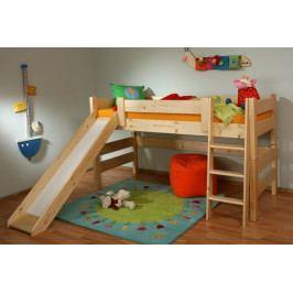 Dřevěná zvýšená postel se skluzavkou - GA