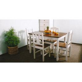 Jídelní stůl obdélník bílo-hnědý-GA