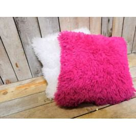 Růžový chlupatý polštář - KU