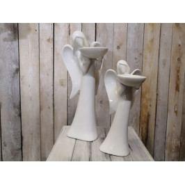 Keramický anděl s kalíškem na svíčku - BKS