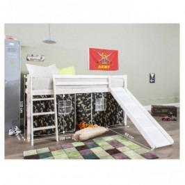Bílá postel s domečkem a skluzavkou - TK