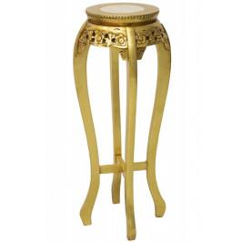 Zlatý dřevěný květinový stolek - GDD
