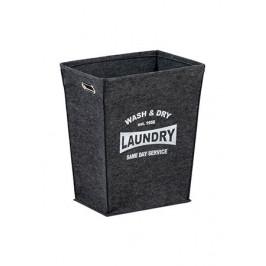 Šedý moderní textilní prádelní koš - AT