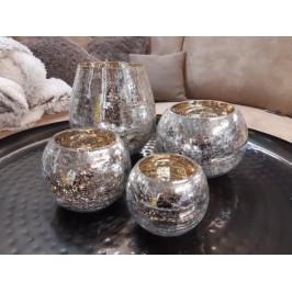 Stříbrnozlatý skleněný svícen - BKS