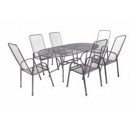Zahradní kovová sestava OLIVIE 1+6 Stůl oválný 190x105 cm