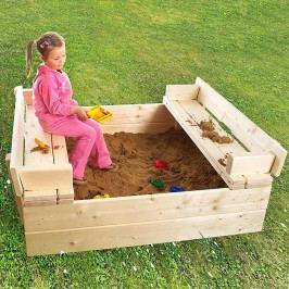 Dětské pískoviště s lavičkou + bábovičky ZDARMA (síla dřeva 26 mm)